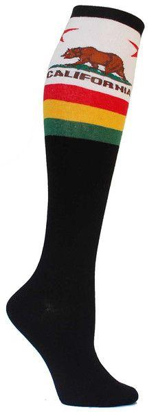 Show your California pride with these California Republic knee high socks. Fits women's shoe size 5-10.: Awesome Socks, California Republic, California Pride, Sick Socks, California Knee, Knee Highs, Crazy Socks, Knee High Socks