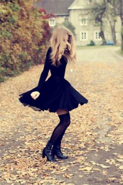Skater dress, tights, knee-highs, boots, curled hair, fall, leaves, cute: Knee High, Thigh High, Style, Outfit, Dresses, Long Sleeve