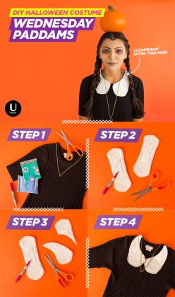 Slap some U by Kotex® CleanWear® pads (cut into a peter pan collar, of course) on a black dress and go to a Halloween party as Wednesday Addams AKA Wednesday PADdams. This easy DIY is punny, funny and fun!   1.Gather Supplies 2.Cut wings off pads and dr