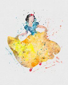 Snow White Watercolor Art - VIVIDEDITIONS: Snow White, White Watercolor, Disney Watercolor Art, Idea, Snow White Tattoo, Disney Princess, Snow White Art, Disney Art Watercolor, Disney Watercolors