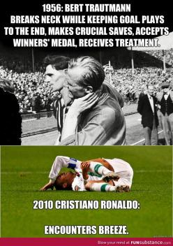 Soccer - 1956 vs 2010 Ugh it bothers me sooo much when they do that! It's a soccer game, not drama class!: Soccer Stuff, Football, Funny, So True, Things