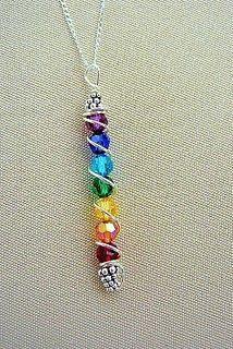 some nice earrings and necklaces on this blog, I like the multi-colours on this one: Chakra Jewelry, Chakra Crafts, Chakras Crafts, Mother Necklace, Rainbow Bead