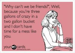 Soooo laughable. I can think of a few people this could refer to.: Why Cant We Be Friends, Crazy People Humor, E Cards Hilarious, Crazy Ecard, Crazy People Ecards, Ex Friends, My Life, Crazy Friends, So Funny