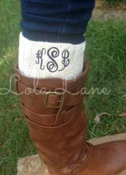 sorry not sorry.... I'll wear a monogram on any article of clothing. Monogrammed Boot Sock by LolaLaneGifts on Etsy, $20.00: Monogram Boots, Monogrammed Fall Clothes, Monogram Gift, Article, Monogrammed Clothes Preppy, Monogrammed Boot Socks, Monogram