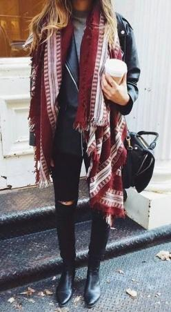 #street #style / red scarf + leather: Autumn Outfit, Winter Style, Street Style, Fall Look, Winter Outfit, Fall Outfit, Scarf, Winter Layer