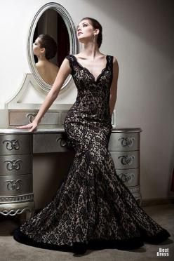 Stunning black lace, fit flare, gorgeous wedding gown. Why didn't I find this before I got my dress? Love this so much.  Bien Savvy Evening Gowns glamour featured fashion Evening Gowns Bien Savvy: Evening Dresses, Fashion, Wedding, Evening Gowns, Blac