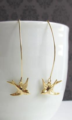 Swallow Birds Long Dangle Earrings: Necklaces Bracelets Earrings, Gold Bracelets, Earings Piercings, Birds Feather Trees Leaves, Gold Earings, Long Dangle Earrings Gold, Bird Earrings, Birds Long