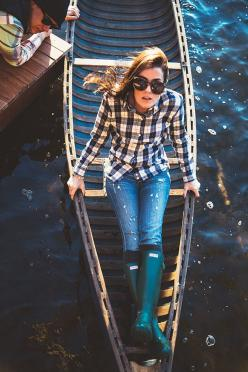 That's all the inspiration we needed to get our rain boot shopping on! Photo: classygirlswearpearls.com: Sarah Vickers, Girls Wear, Flannel Shirts, Classy Girls, Style, Wear Pearls, Fashion Blog, Green Hunter Boots, Knee High Socks