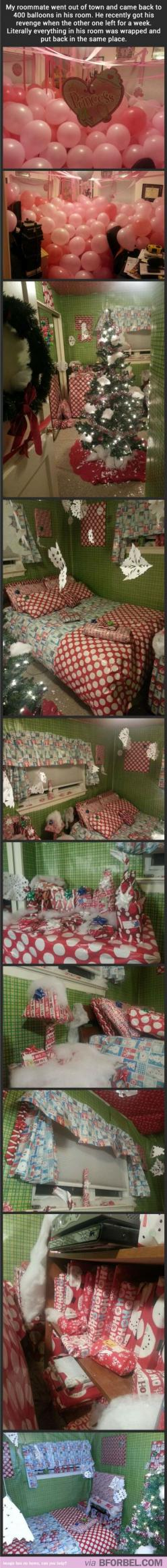 The Amount Of Commitment Here Just Astounds Me… *Slow Clap*: Giggle, Wrapping Papers, Roommate Pranks, Sweet Revenge, Roomate Pranks, Funny Pranks, College Pranks, Christmas Wrapping