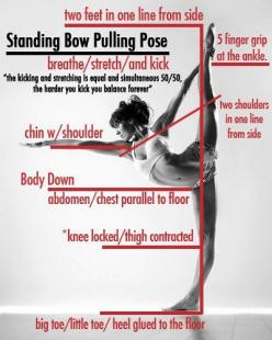 the anatomy of standing bow pulling pose. Doubt I could ever get this far, but hey, what are goals for?: Fitness, Yoga Poses, Bows, Pulling Pose, Health, Bow Pulling, Bikram Yoga, Standing Bow