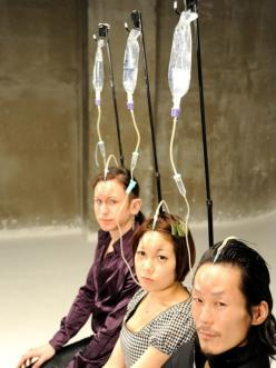 "The 'Bagelhead' is currently the hottest body modification in Japan,""injecting saline solution into the forehead to create a temporary bagel-like shape"". The saline solution is injected for two hours and the 'bagel/donut-head' look is created by press"