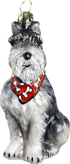 The Pet Set Schnauzer with Bandana Glass Christmas Ornament - Handcrafted in Europe by Joy to the World Collectibles: Bandana Glass, Set Schnauzer, Glass Christmas Ornaments