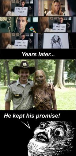 The Real Reason Lori Had to Die --- OMG, This is hilarious!!! I never realized Rick was in Love Actually! HA! :): Thewalkingdead, Stuff, The Walking Dead, Movies, Funny, Andrew Lincoln, Zombies