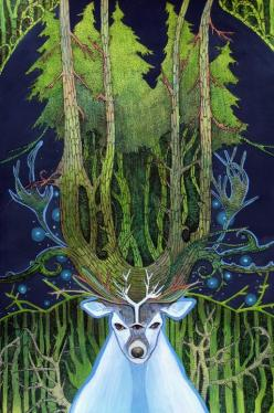 The White Stag is an important creature in myth and to many Pagan traditions. Herne God of the Forest and the Wild Hunt , Lord Of Stags Be Praised.  [Ghost of Forest by ~yanadhyana]: Forests, Art, Illustration, Pagan Traditions, White Stag, Deer