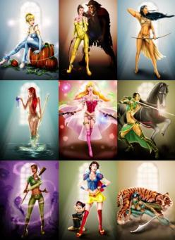 These would make cool pin up tattoos for that special little disney freak. :P: Disneyprincesses, Disney Stuff, Disney Princess Tattoo, Disney Cartoon, Badass Princesses, Warrior Princesses, Disney Princess Warriors, Warrior Disney Princesses, Superhero