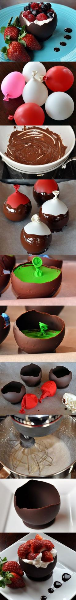 - This actually works really well. Just make sure to wash the balloons and make sure they are 100% dry before dipping in chocolate or you will get white spots on your chocolate.: Cake, Idea, Desert, Chocolate Bowls, Sweet, Food, Dessert