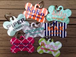 This precious bone-shaped dog tag can be personalized with your choice of designs, color and fonts.: Custom Pet, Name Tags, Pet Dog Tags, Pet Tags, Pet Names, Dog Tags For Dogs, Customized Dog Tags, Cute Dog Tag, Custom Dog Tags Pets