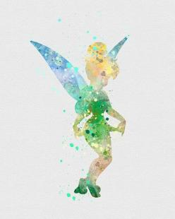 Tinker Bell Watercolor Art - VIVIDEDITIONS: Tattoo Ideas, Watercolor Art, Drawings, Fairytale Crafts, Disney Watercolor, Watercolor Comics, Disney Tinkerbell