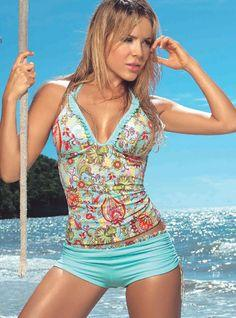 """Turquoise Floral Tankini. A good """"mom suit"""" for the water park."""