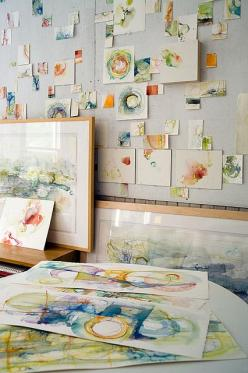 Wall of tiny Abstract Watercolors    Studio Photo by Paul Clancy house by Alyn Carlson: Watercolor Painting, Art Watercolor, Abstract Watercolors, Tiny Watercolor, Watercolor Sketch, Painting Studio, Art Room
