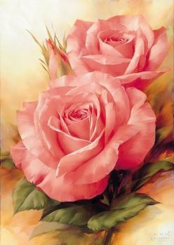 What a great example of how to color roses! They look real... amazing.. God, you've created such beauty in the world...: Pink Roses, Art, Igor Levashov, Flowers, Painting, Beautiful Rose