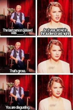 "When she called Taylor Swift gross. | The 35 Greatest Moments Ever On ""The Ellen Show"": Funny Quote, Taylor Swift, Ellen Degeneres, Giggle, Taylorswift, Funny Stuff, Funnies, Humor"