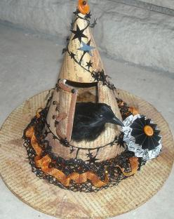 Witch Hat - Chris made for Amy.  ['Found' or cloth-feather version]: Witch Hats, Raven, Halloween Decoration, Halloween Witch, Halloween Crafts, Witches, Craft Ideas, Photo, Halloween Ideas