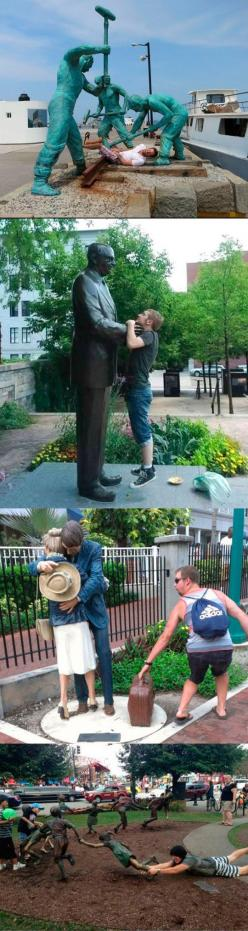 xD: People Having Fun With Statues, Funny Things, Bad Selfies Funny Hilarious, Fun With Statues Funny, Funny Stuff To Make Me Laugh, Find Statues, Funny Statue Pictures, Funny Poses, Funny Statues