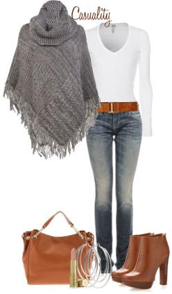 """""""Mk Boots & Large Tote, Sweater Poncho"""" by casuality ❤ liked on Polyvore: Winter Outfits, Fall Outfit, Mk Boots, Beat Gift, Christmas Gift, Fall Winter, Fashion Pin"""
