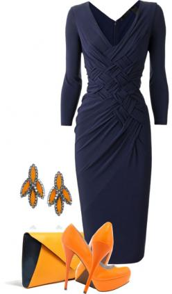 """Orange and Navy"" by mandalorean ❤ liked on Polyvore: Classy Outfit, Fashion, Style, Dresses, Orange Outfit, The Dress, Navy Dress, Work Outfits"