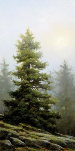 """The Muted Ridge,"" by Renato Muccillo 12 x 24 - oil $2500 Custom framed: Art Paintings, Paintings Of Pine Trees, Oil 2500, Art Landscape, Oil Painting Landscape Trees, Renato Muccillo, Muccillo 12, Oil Painting Trees"