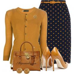"""""""Yumi Skirt"""" by arjanadesign on Polyvore: Fall 2015 Outfits Work Classy, Mustard Skirt Outfit, Work Outfit, Fall Skirt Outfit, Yumi Skirt, Fall Color"""