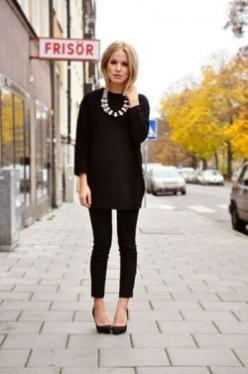 All black outfit and statement necklace in a different color--Something about the idea of wearing all black for the fall has me so excited.: Fashion, Statement Necklaces, Black Outfits, All Black, Style, Allblack, Work Outfit, Fall Winter