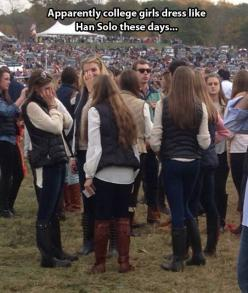 And they probably wouldn't even understand that joke at all...lol: Hansolo, College Girls, Giggle, Star Wars, Funny, Han Solo, Starwars