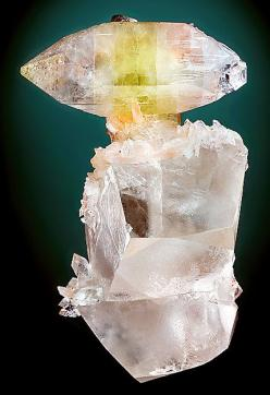 Apophyllite on transparent Calcite crystals, From Jalgaon, North Maharashtra, India. Measures 11.9 cm by 7.3 cm by 6.7 cm in size. Ex. Steve Neely Mineral Collection: Gems Minerals Crystals, Rocks Minerals, Crystals Minerals, Transparent Calcite, Bi Color