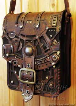 Astounding steampunk leatherwork bags and books - Boing Boing: Steam Punk Costume, Steampunk Outfit, Leatherwork Bag, Steampunk Book, Steampunk Costume