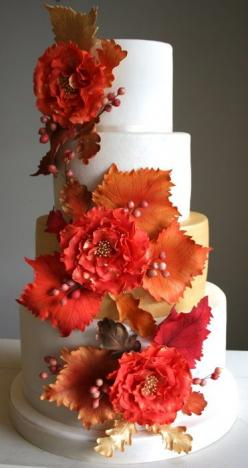 Autumn Leaves Wedding Cake - by flutterby @ CakesDecor.com - cake decorating website: Autumn Cake, Wedding Ideas, Autumn Wedding, Cake Ideas, Fall Cake, Wedding Cakes, Weddingcake, Fall Wedding, Flower