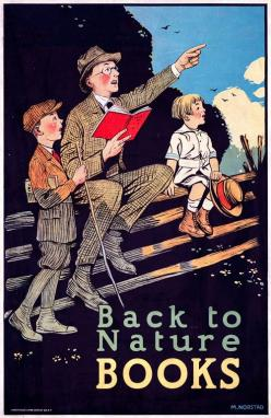 Back to Nature Books. A father and his sons reading in the outdoors. Circa 1910.: Vintage Posters, Books Books I, Books This, Reading Books, Book Reading, Books Reading