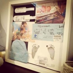 birth shadow box - such a good idea! all those little pieces would otherwise be lost. Good idea :): Baby Idea, Baby Shadow Boxes, Shadowbox, Baby Keepsake, Future Baby, Baby Book, Birth Shadow, Baby Stuff