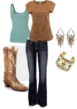 brown and teal cowgirl, the boots you can find at the Buckle!!!!!!!!!  What a great outfit for Dodge City Days!!: Fashion, Style, Country Girl, Rodeo Outfit, Dream Closet, Cowgirl, Country Outfits