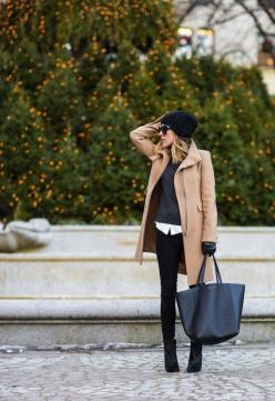Camel and black are my go to colors this winter – I love the combination together. It's just so classic!: Autumn Winter, Winter Style, Street Styles, Winter Outfits, Winter Fashion, Camel Coat, Fall Winter