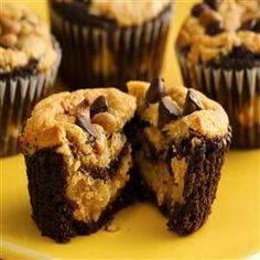 Chocolate-Peanut Butter Layered Cupcakes.