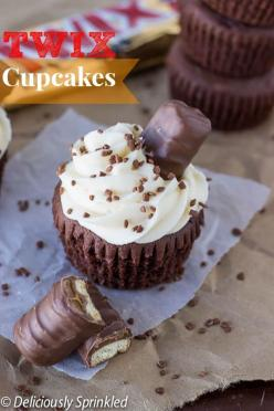 Chocolate Twix Cupcakes recipe. Chocolate cupcake topped with caramel buttercream frosting and a Twix candy bar.: Cuppycake, Sweet, Cupcake Recipes, Caramel Buttercream, Food, Candy Bar, Chocolate Cupcake, Buttercream Frosting