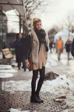 Clara in furry vest, beige sweater, leather motorcycle jacket, and pleather leggings.: Fashion, Inspiration, Winter Style, Street Style, Winter Outfit, Street Styles, Winter Layers, Fall Winter