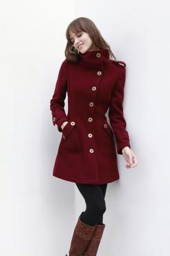 cute coat: Winter Coats Women, Coat Fitted, Military Style, Wine Red, Red Coats, Women'S Coats