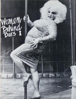 Divine in 'Women Behind Bars' Off Broadway.  Black and White photo.: Warehouse Theater, Prison, 236 309 Pixels, Gay Divine Goddess, Divine Drag, Girls Pet, Divine John Waters Friends, Queer Gay Dyke Les Bi Trans