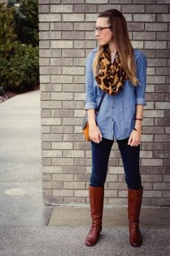 do this with jean shirt that has black trim, leopard scarf, black pants and boots: Twenties Girl, Leopard Scarf, Denim Shirts, Outfit, Girl Style, Fall Fashion, Fall Winter