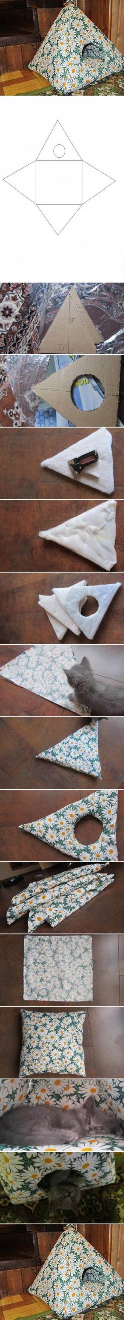 Easy DIY Cat Tent: Cats, Diy House, Pet, Cat House, Diy Cat, Cat Tent