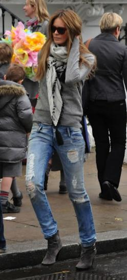 elle macpherson in a comfy sweater + scarf + ripped jeans...love it all!  Note to self, need grey booties :-D: Boyfriend Jeans, Ripped Jeans, Ellemacpherson, Casual Style, Fashion, Street Style, Outfit, Fall Winter, Elle Macpherson
