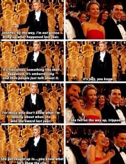 Ellen talking about Jennifer Lawerence's fall the year before at the 86th Oscar's: Ellen Degeneres, Jennifer Lawerence, Hunger Games, Hungergames, J Law, Jennifer Lawrence, Jenniferlawrence, Jlaw